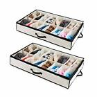 Under The Bed Shoe Organizer Fits 12 Pairs – Made with Sturdy 2 Shoes - Beige