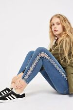 NEW Topshop Blue Chain Side Skinny Jeans RRP £59 Size 6 8 10 12 14 16