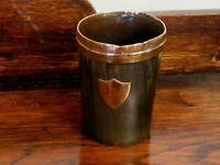 Victorian Primitive Horn Beaker copper rim Shield Plaque 1800s Monogram