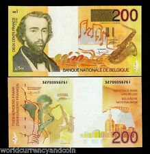 BELGIUM 200 FRANCS P148 1995 EURO SAXOPHONE UNC WORLD CURRENCY MONEY BILL NOTE