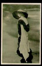 c1907 glamour girl in fur sent Japan war ship Azuma Yamasaki postcard