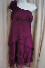 S.L. Fashions Dress Sz 8 Claret Iridecent Rosette One Shoulder Tier Chiffon