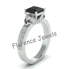 Skull Design Ladies Engagement Ring Moissanite Studded White Gold Plated New