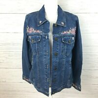 NEW Denim & Co. Women's Jean Jacket Embroidered Denim Beaded Jacket Medium
