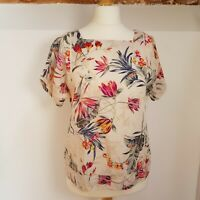 Monsoon Linen Blend Top Floral Size 10 UK Womans Ladies Pretty Summer Holiday