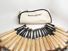 20pc Mastercarver Sculpture Wood Carving Tools Set w/Canvas Roll