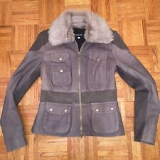 Patrizia Pepe Gray Leather Jacket with fur  Size M Gorgeous Sold out!!!