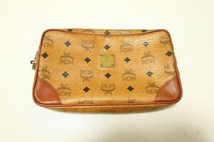 Authentic MCM Clutch Bag Leather Brown  #7550