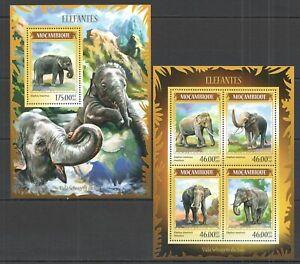 ST2396 2014 MOZAMBIQUE ANIMALS FAUNA ASIAN ELEPHANTS KB+BL MNH
