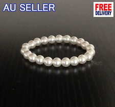 1 x Pure White Pearl Bracelet Stretch Girls Bridal Bangle Wedding