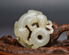 Chinese Antique Hand-Carved Jade Dragon Figure Statues