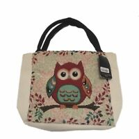 Canvas Small Tote Bag Owl Patterned -  Red Multicoloured Handbag BRAND NEW