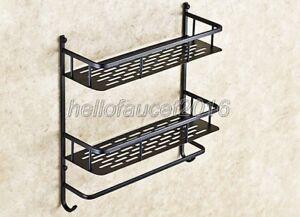 Black Oil Rubbed Bronze Wall Mount 2-Tier Storage Basket Bathroom Shelves