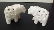 Pair of HAND CARVED STONE ELEPHANT WITH BABY INSIDE FIGURINE RAISED TRUNK