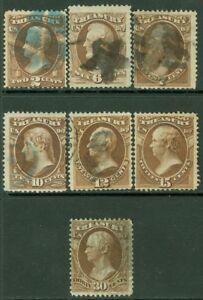 EDW1949SELL : USA 1873 Scott #O73, O75-79, O81 Used. Fresh. Catalog $93.00.