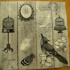 paper napkins birds, bird cage, feathers serviette,33cm-2pcs,decoupage