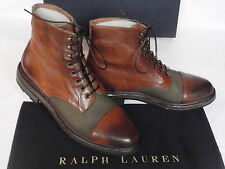 NEW Mens Ralph Lauren MACOMB Tan Brown Leather Boots UK 9 USA 10 RRP £542