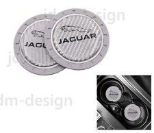 2PCS Silver Silicone Carbon Fiber Car Cup Holder Pad Mat For Jaguar Anti-Slip