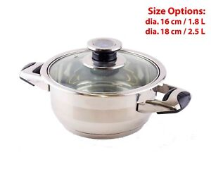 18/10 Stainless Casserole Cooking Pot Dutch Oven Cookware w/ Lid 16 & 18 CM