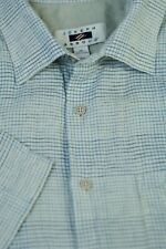 Joseph About Men's Stone Gray Blue Check Pure Linen Casual Shirt XL Large