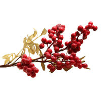 1X  8Cm Christmas Red Berry Holly Branch Pine Cone Artificial Flower Xmas Wreath