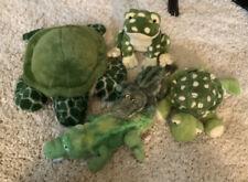 Lot Of 5 stuffed animals, Turtles, frog, Alligators - Very Nice!