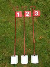 3 x numbered Metal Professional JL Golf Putting Green Flag and Hole Cup 90cm