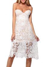 White Lace Overlay Patchwork Strapless Midi Dress Medium