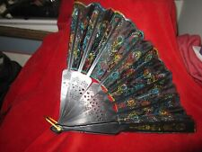 Vintage Decorative Material Black Fan Plastic handle