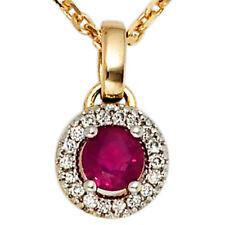 Echte Edelstein-Halsketten & -Anhänger aus Gelbgold mit Rubin für Damen