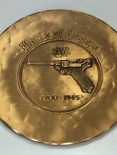 """Vintage Solid Bronze Hand Made Luger Collectible Plaque / Plate 7"""" Diameter Rare"""
