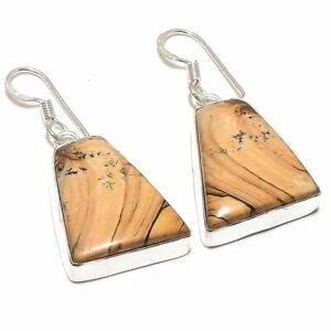 "Picture Jasper Gemstone Handmade Ethnic Jewelry Earring 1.7"" RE115"