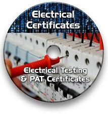 ELECTRICAL TESTING CERTIFICATES, 17th EDITION EICR 3rd AMENDMENTS 2015 CD