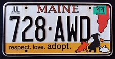 "MAINE "" ADOPT PETS - CAT DOG HORSE BIRD "" 728 AWD ME Specialty License Plate"