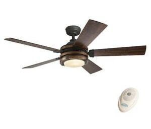 "Kichler, 52"" Distressed Black Ceiling Fan LED Tinted Scavo Glass Remote Control"