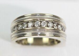 SUPERB 14k WHITE GOLD 1 CT CHANNEL DIAMOND BEAD TRIM HALF-ETERNITY RING size 10