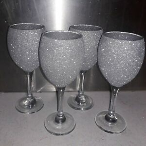 Set Of 4 Silver Glittered Wine Glasses