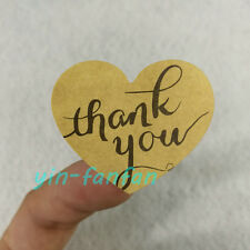 120pcs Thank You Kraft Paper Sticker Sticker Heart Shape 32x38mm Gift Sticker