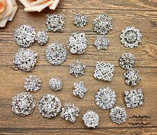 24 Rhinestone Brooch Lot Silver Mixed Pin Wholesale Crystal Wedding Bouquet DIY