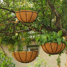 2x Hanging Flower Coconut Coir Husk Basket With Liner Natural Coconut Lining