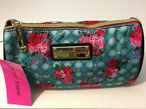 NW BETSEY JOHNSON ZIP COSMETIC TEAL PLUSH ROSES CYLINDER MAKEUP BAG POUCH