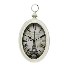 White Iron Vintage-Inspired Pocket Watch Style Oblong Oval Wall Hanging Clock