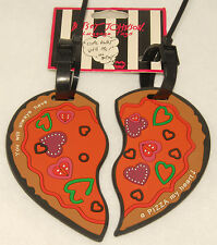 BETSEY JOHNSON - 2 pc LUGGAGE TAGS - HEART PIZZA Design *BRAND NEW!
