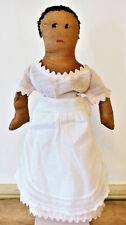 Rare Antique 19th C -1900s Black Americana Handmade Cloth Rag Fabric Doll #1