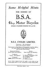 (0186) 1921 BSA 4 1/4hp H2 K2 instruction book