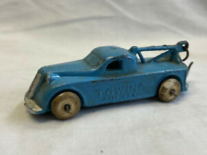 Vtg Slush Lead Blue Towing Truck With Tow Hook Made In USA