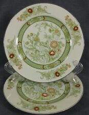 Mikasa Kabuki L9011 Lot of 2 Salad Dessert Plates Green Band Floral