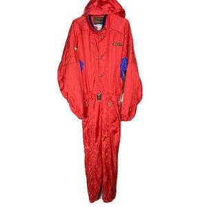 Descente Red Blue One Piece Ski Suit Coveralls Men's Large VTG 90's Japan