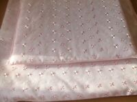 Silver Cross Doll Pram Bedding set Quilt & Pillow Pink Broderie Anglaise