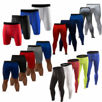 Men's Sports Gym Compression Under Shorts Long Pants Athletic Base Layer Tights
